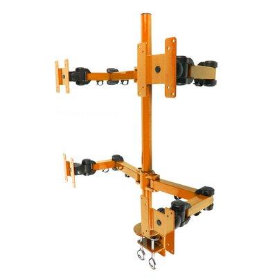 Stand Desk Clamp Height Adjustable 4 Screen Desk Mount Finish: Orange
