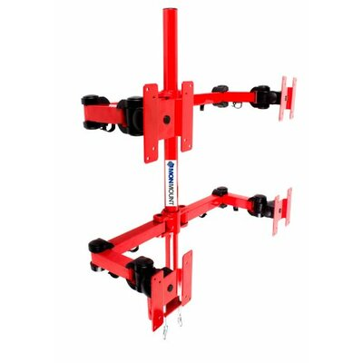 Stand Desk Clamp Height Adjustable 4 Screen Desk Mount Finish: Red