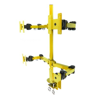 Stand Desk Clamp Height Adjustable 4 Screen Desk Mount Finish: Yellow