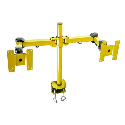 Stand Desk Clamp Height Adjustable 2 Screen Desk Mount Finish: Yellow