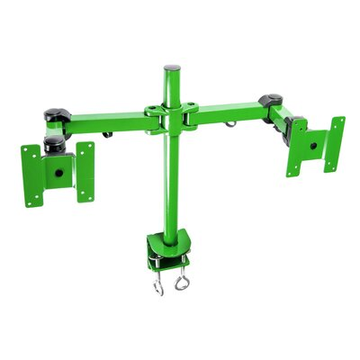 Stand Desk Clamp Height Adjustable 2 Screen Desk Mount Finish: Green