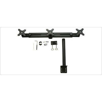 Straight-Arm Clamp-Style Height Adjustable 3 Screen Desk Mount