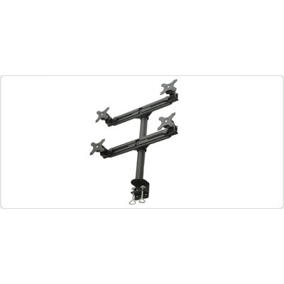 Clamp Style Height Adjustable 4 Screen Desk Mount