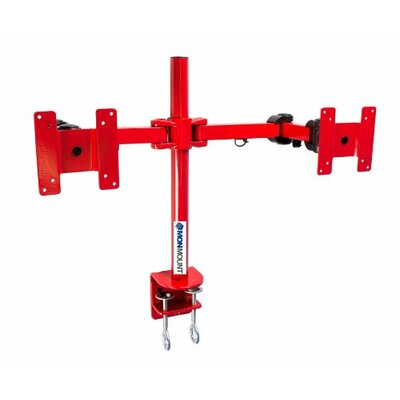 Stand Desk Clamp Height Adjustable 2 Screen Desk Mount Finish: Red