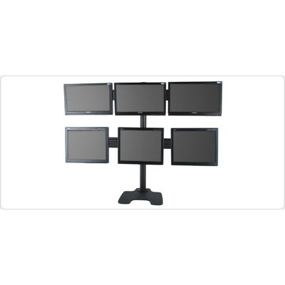 Hex Freestanding Stand Height Adjustable 6 Screen Desk Mount