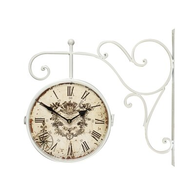 Vintage-Inspired Round Double-Sided Wall Hanging Clock