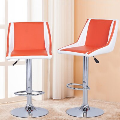 Adjustable Height Swivel Bar Stool Upholstery: Orange/White