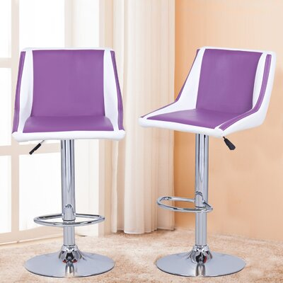 Adjustable Height Swivel Bar Stool Upholstery: Purple/White