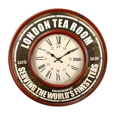 "Oversized 23.2"" Retro Round Roman Numerals ""London Tea Room"" Wall Hanging Clock CK0065"