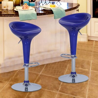 Adjustable Height Swivel Bar Stool Upholstery: Deep Blue