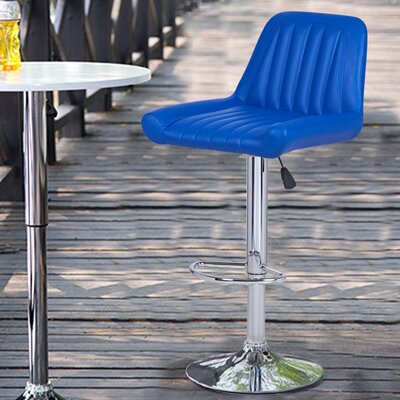 Adjustable Height Swivel Bar Stool Upholstery: Bright Blue