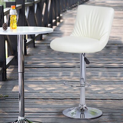 Adjustable Height Swivel Bar Stool Upholstery: Cream