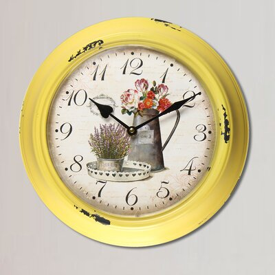 """11.8"""" Circular Watering Can and Flowers Detail Wall Hanging Clock"""