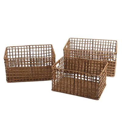 3 Piece Milk Crate Styled Multi Purpose Basket Set