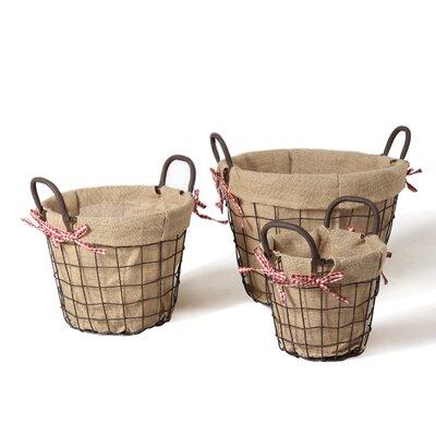 3 Piece Circular Rustic Style Multi Purpose Basket Set BT0001