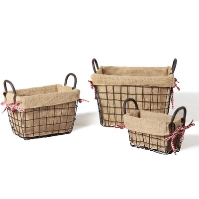 3 Piece Rectangular Rustic Style Multi Purpose Basket Set Size: Small