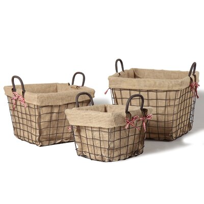 3 Piece Rectangular Rustic Style Multi Purpose Basket Set Size: Large