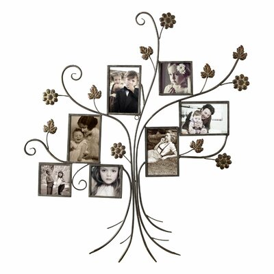 7 Opening Decorative Bronze-Color Iron Tree Photo Collage Wall Hanging Picture Frame