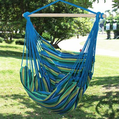 Naval Cotton Fabric Canvas Tree Hanging Suspended Outdoor Indoor Chair Hammock Color: Oasis/Blue/Green