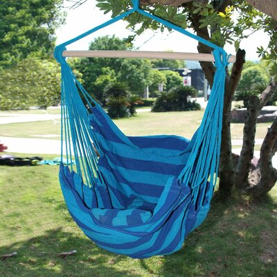 Naval Cotton Fabric Canvas Tree Hanging Suspended Outdoor Indoor Chair Hammock Color: Royal Blue