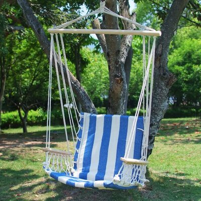 Naval Cotton Fabric Canvas Tree Hanging Suspended Outdoor Indoor Chair Hammock Color: White/Blue