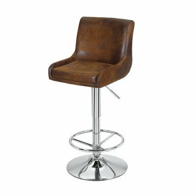 Adjustable Height Swivel Bar Stool Upholstery: Antique brown