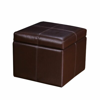 Contrast Stitch Square Cube Storage Ottoman Upholstery: Brown
