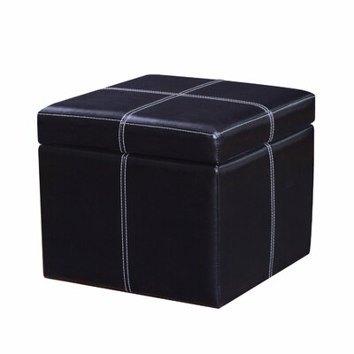 Contrast Stitch Square Cube Storage Ottoman Upholstery: Black