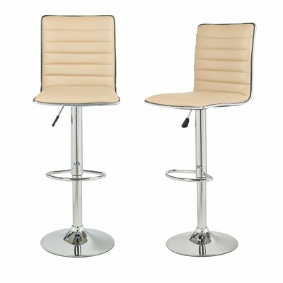 Manuel Adjustable Height Swivel Bar Stool Upholstery: Beige