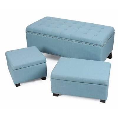 Home 3 Piece Storage Ottoman Set Upholstery: Blue