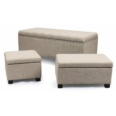 Home 3 Piece Ottoman Set Upholstery: Grey