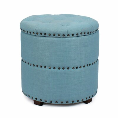 Round Storage Ottoman Upholstery: Blue