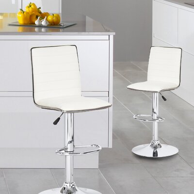 Savoy Adjustable Height Swivel Bar Stool Upholstery: White