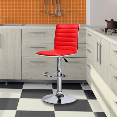 Manuel Adjustable Height Swivel Bar Stool Upholstery: Red
