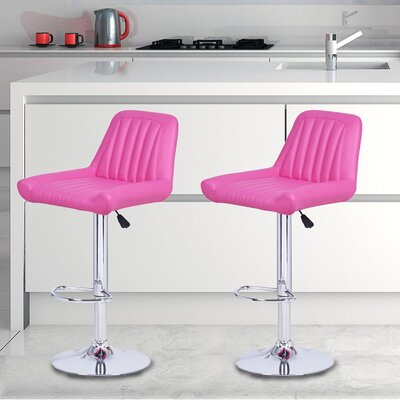Adjustable Height Swivel Bar Stool Upholstery: Hot Pink