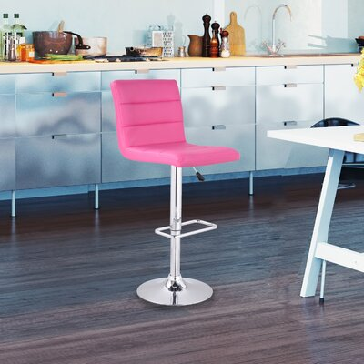 Adjustable Height Swivel Bar Stool Upholstery: Pink