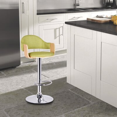 Adjustable Height Swivel Bar Stool Upholstery: Lemon Green