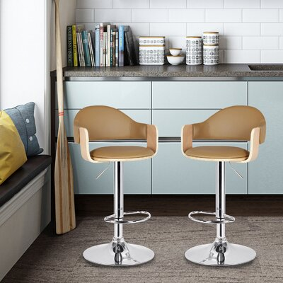 Adjustable Height Swivel Bar Stool Upholstery: Beige