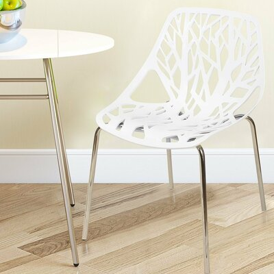 Stacking Dining Side Chair Finish: White