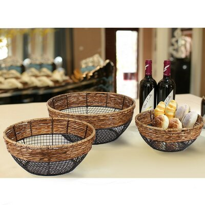 3 Piece Iron Wire Round Wide-Mouth Basket with Mesh Body