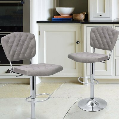 Adjustable Height Swivel Bar Stool Color: Light Grey