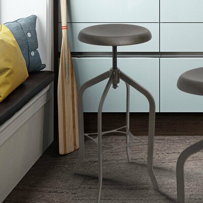 Adjustable Height Swivel Bar Stool Finish: Dark Grey