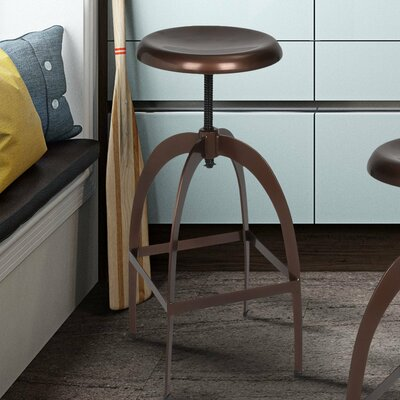 Adjustable Height Swivel Bar Stool Finish: Copper Matte