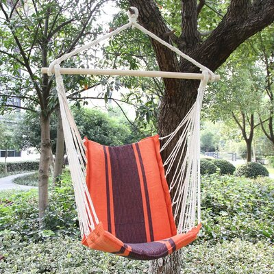 Cotton and Polyester Chair Hammock Color: Orange