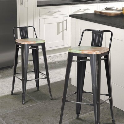30 Bar Stool Seat Color: Green/Orange