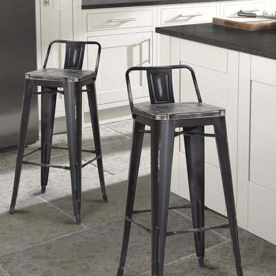 30 Bar Stool Seat Color: Black