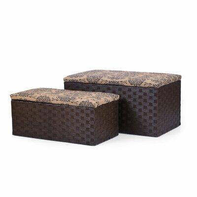 2 Piece Printing Lid Storage Ottoman Set