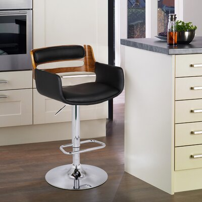 Bentwood Adjustable Height Swivel Bar Stool Upholstery: Matt Black