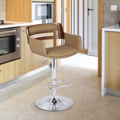 Bentwood Adjustable Height Swivel Bar Stool Upholstery: Deep Beige