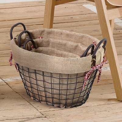 3 Piece Oval Shaped Rustic Style Multi Purpose Basket Set